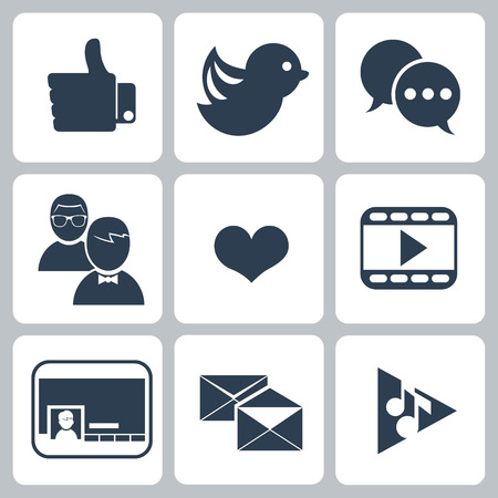 follower: Set of social network icons with links bird seo cloud search message bubble like hand links follower people network chat heart symbol and contact in black color isolated on white Illustration