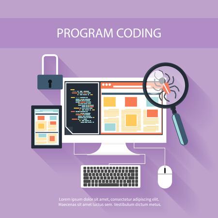Użytkownik kodowanie programowanie w płaskiej konstrukcji stylowe. Ikony dla rozwoju aplikacji lub programowania aplikacji oprogramowania. WWW, bazy danych, tworzenie oprogramowania