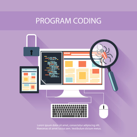 User programming coding in flat design stylish. Icons for application development or software app programming. Web, database, software development
