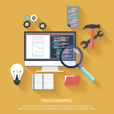 codage de programmation de l'utilisateur dans l'appartement design élégant. Icônes pour le développement d'applications ou de programmation de l'application logicielle. Web, base de données, le développement de logiciels