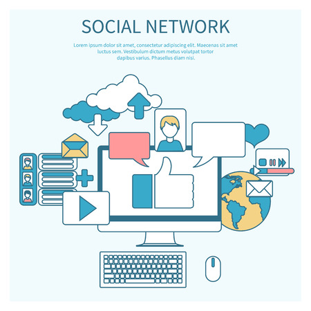 Social networks. Cloud of application icons. Set for web and mobile applications of social media