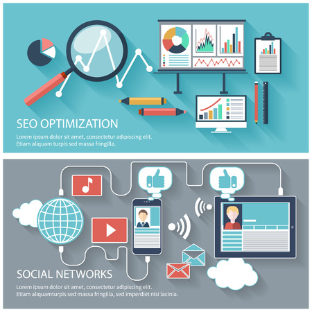 programming: SEO optimization, programming process and web analytics elements in flat design. Set of social network icons