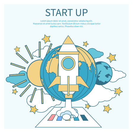 Business start up idea template. Start up rocket idea. New business project start up, launching new product or service in flat design Vector