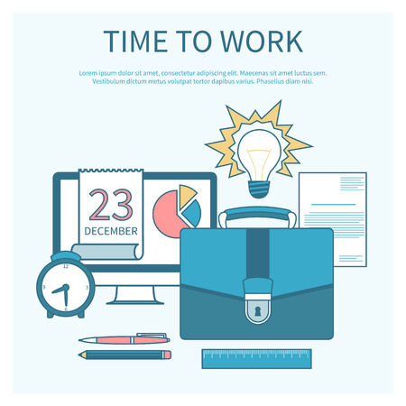 productivity system: Business concept in flat design for time to work, work process, project and time management with idea, timing and business symbols