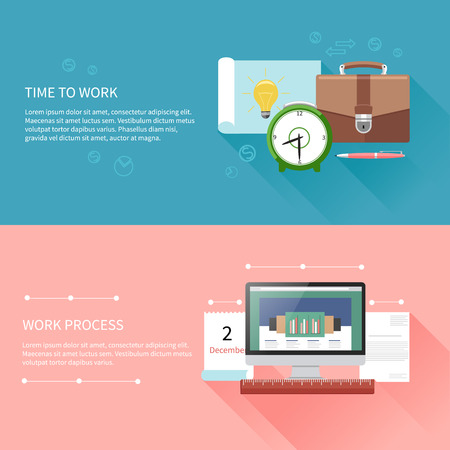 Business concept in flat design for time to work, work process, project and time management with idea, timing and business symbols Vector
