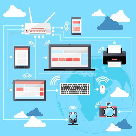 グローブと接続されているルーター、ノート パソコン、デジタル タブレット、e リーダー、スマート フォンの wifi ネットワークのフラット デザイ