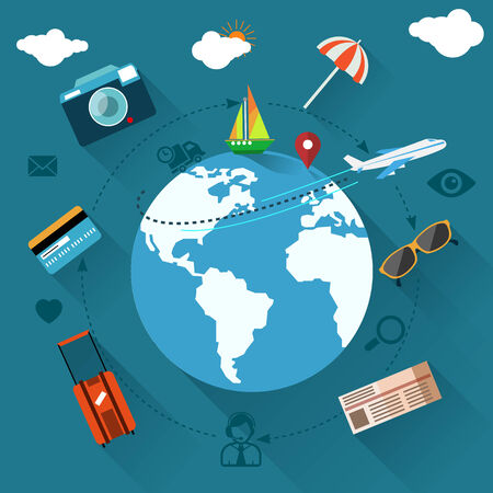glasess: Round flat conceptual illustration of international business travel by airplane. Tourist icons around the planet