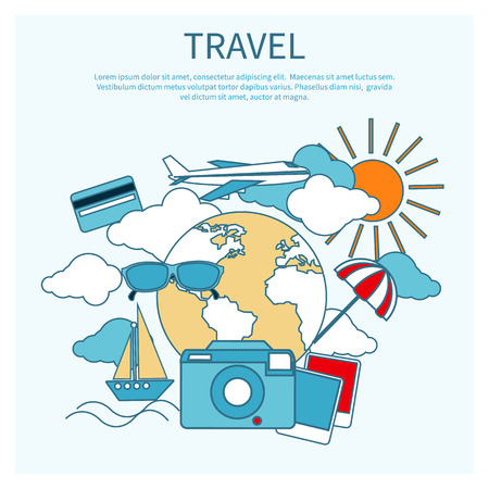 Round flat conceptual illustration of international business travel by airplane. Tourist icons around the planet