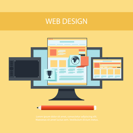 web site: Web design concept. Computer monitor with the screen of the program for design and architecture in flat design. Set for web and mobile applications of web design