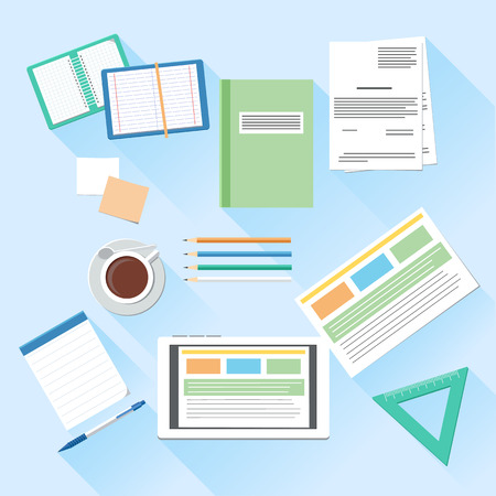 jobsite: Workplace office and business work elements set. Mobile device tablet and documents