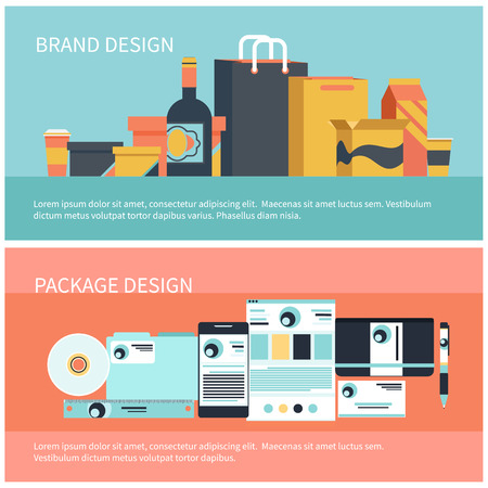 Pakket design en brand design, corporate identity template, huisstijl in vlakke stijl. Pakcontainer fles voedsel en vloeistof icon set met schaduw