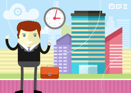 working late: Happy businessman showing clock on city  background flat design style