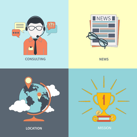 Set of banners online consulting, news, location and mission item icons in flat design