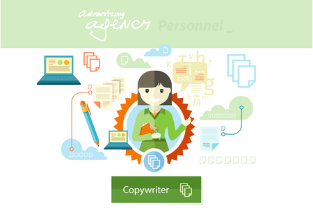 expertize: Advertising copywriter expert of marketing profession series. Woman holding a clipboard and pen with item icons in flat design