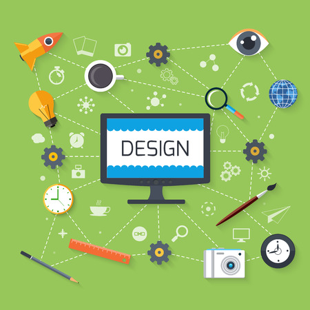 design symbols: Concept in flat design for web design and development with monitor surrounded tools, idea, search and email pictograms