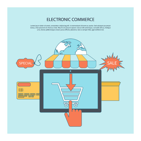 carport: Internet shopping e-commerce concept tablet with awning of buying products via on line shop store e-commerce ideas e-commerce symbols sale elements on stylish background Illustration