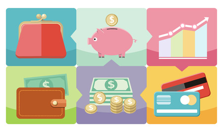 coin box: Money icons in flat design style on multicolor background. Different item icons such as dollar money graph purse coin box pig bank