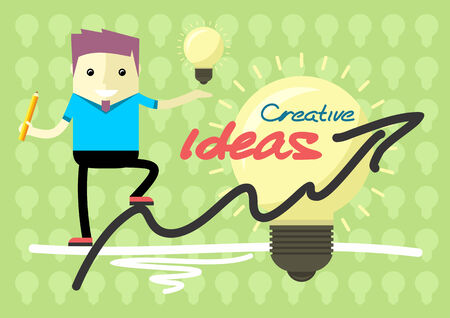 graph theory: Creative solutions from theory to practice. Man holding in hand lightbulb and is on graph schedule flat cartoon design style