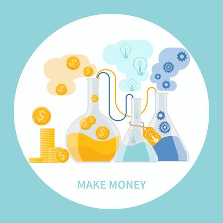 dollaro: Fai concetto di denaro. Business concetto di esperimento alchemico per generare denaro e le idee con le attrezzature di laboratorio in design piatto Vettoriali