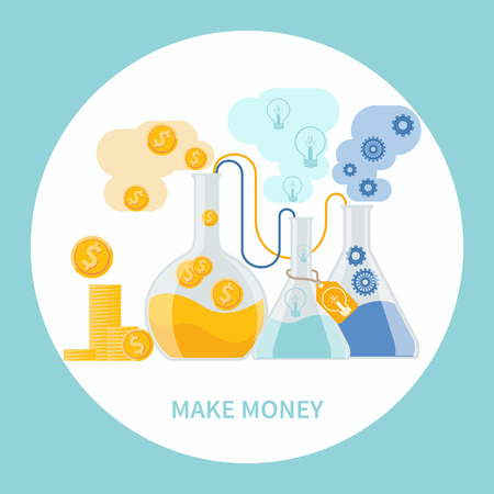 dollar coins: Make money concept. Business concept of alchemy experiment for generating money and ideas with laboratory equipments in flat design Illustration