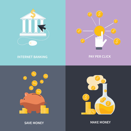 make an investment: Business concept for online internet banking, finance investment, make money, save money and pay per click in flat design