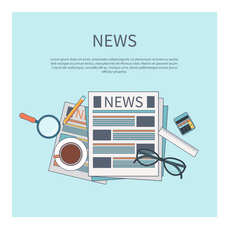 reading newspaper: News concept. Newspaper with magnifying glass, glasess, cup of tea and calculator in flat design Illustration