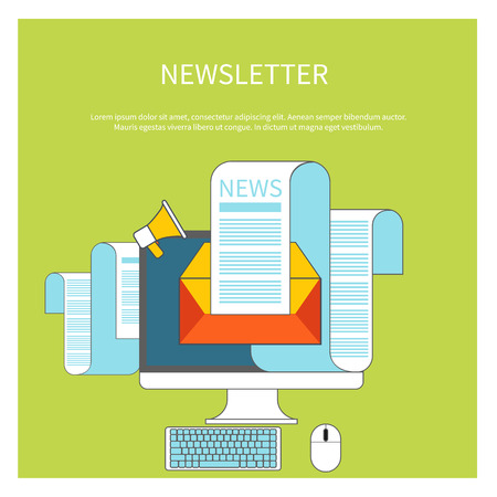 regularly: Web contact and business newsletter concept with an email envelope and newspaper. Regularly distributed news publication via e-mail with some topics of interest to its subscribers Illustration