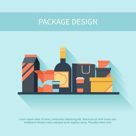フラット スタイルのパッケージ デザイン。コンテナー フラスコ食品と影でセットされた液体のアイコンをパックします。  イラスト・ベクター素材