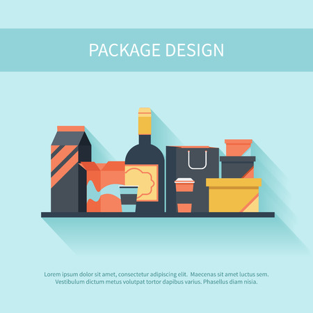 Package design in flat style. Pack container flask food and liquid icon set with shadow Illustration