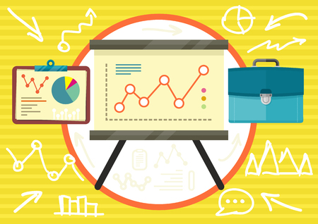 parameters: Stand with charts graphs and parameters. Business concept of analytics in flat design Illustration