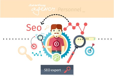 Profession concept with expert of search engine optimization seo and business development. Analytics information and management resources, growth charts and graphs in flat design style Vector