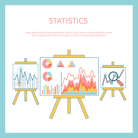 year increase: Stand with charts graphs and parameters. Statistic business concept of analytics