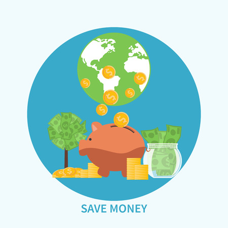 Piggy bank and coins on background with globe, saving money concept in flat design Vector