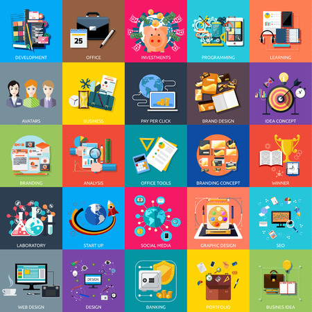 klik: Icons set banners voor applocation ontwikkeling, business seminar, business strategie, pay per click, brand design, business idee, adaptieve ontwikkeling, analyse in platte ontwerp Stock Illustratie
