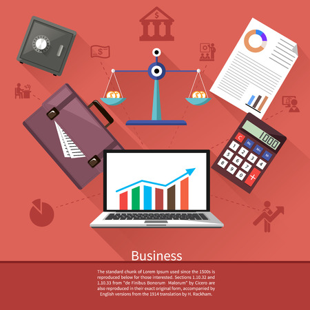 stock graph: Background with various business elements such as safe, scales with coins, briefcase, calculator and laptop with stock graph. Flat icon modern design style concept