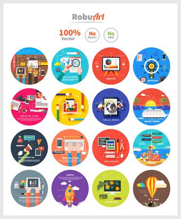Beheer van digitale marketing srartup planning analytics ontwerp pay per click seo social media reizen toerisme en ontwikkeling te lanceren. Banners voor websites platte design stijl