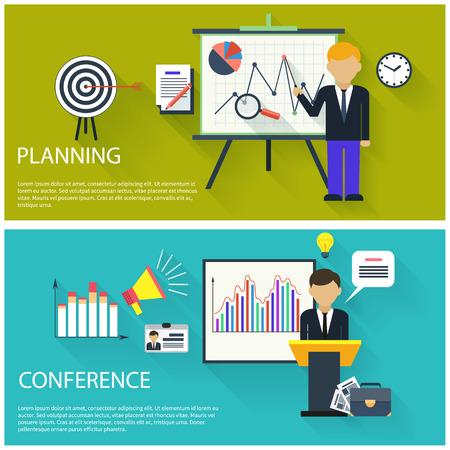 business planning: Flat design concept of businessman presenting development and financial planning on meeting conference