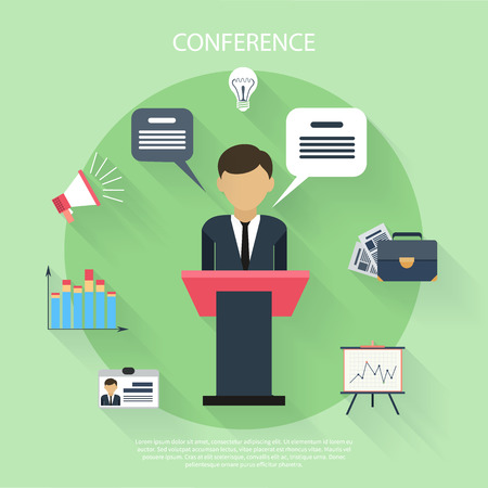conference speaker: Flat design concept of businessman presenting development and financial plan on meeting conference