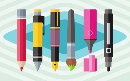 Big set of colored engineering and office pens and pencils in flat cartoon design style Illustration