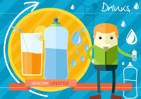 man drinking water: Flat design style healthy lifestyleconcept of everyday water drinking, water consumption by people, health care and body balance support. Man with a bottle in his hand