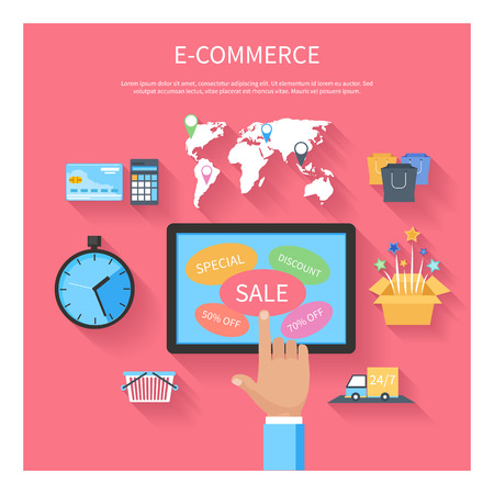 supermarket shopping cart: Internet shopping e-commerce concept with monitor screen of buying products via online shop store e-commerce ideas and symbols sale elements on stylish background Illustration