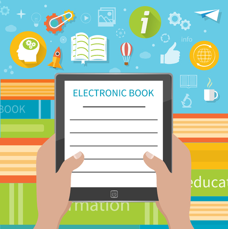 electronic book: Stack of colorful books with electronic book reader at book store. Hands holding e-book cartoon flat design style