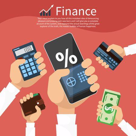 calculadora: Manos con diversos elementos de negocios, tales como seguros, cartera, calculadora con valores gr�fico. Icono plana concepto de estilo de dise�o moderno
