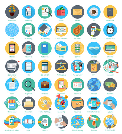Set of business and office item icons in flat design isolated on white background Illustration