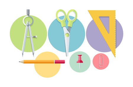 Set of stationery office tools marker, paper clip, pen, clip, pencil icons in flat design isolated on white background Vector