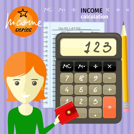 counting money: Income calculation concept. Savings, finances, economy in home concept close up of woman with purse near calculator counting money and making notes cartoon design style