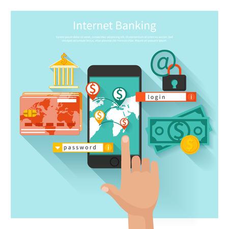 Business-Konzept f�r Online-Banking, Finanzen Investition, Kaution, Depotzinsen mit Laptops, Safe und Schild in flache Bauform
