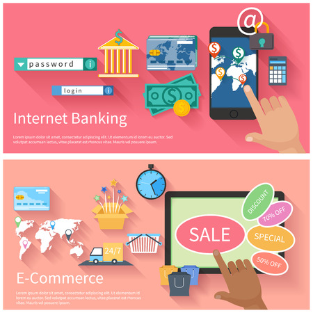 sales bank: Internet banking and e-commerce concept. Online banking, finance investment, security deposit, deposit interest with laptops, safe and shield in flat design and e-commerce concept with monitor screen of buying products