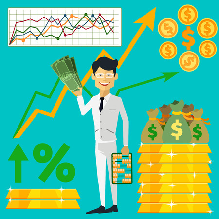 trader: Happy man trader holding dollars in hand and near him on background gold bars and graph arrow indicators up flat design style