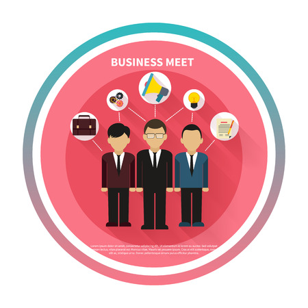 meet: Business people on meet in flat style. Meeting, conference and presentation icons Illustration